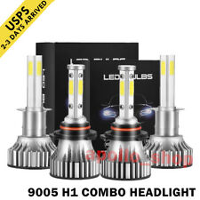 4-Sides 9005 H1 Combo LED Headlight Kit Fog Light Bulb 3020W High Low Beam 6000K