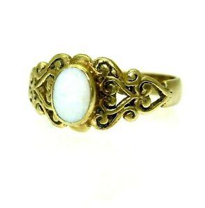 9ct 9k Gold Natural Opal Celtic Ring Size 6 3/4 - N