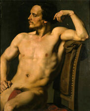 Nice Oil painting nude strong man Meissonier - The Wrestler  seated