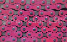 """Yaban old school BMX or single speed bicycle chain 1/2"""" X 1/8"""" PINK and NICKEL"""