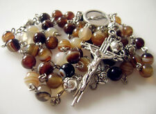 Carnelian Agate & Tibet Silver Rose Bead Rosary Necklace Italy Cross