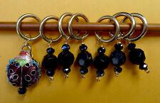 Stitch marker, knitting 6+1, stone, crystal beads and  cloisonne ladybug