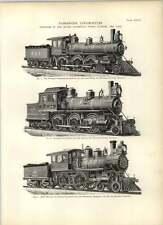 1893 Suburban Chicago Huit roues passager Cincinnati locomotives dessins