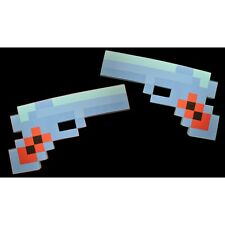 8-BIT PIXEL GUN - 2 PACK DIAMOND PISTOL - EVA FOAM HANDGUN - PIXELATED BLUE- USA