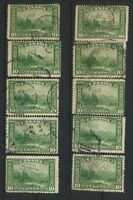 Canada #155  Mt Hurd  1928 Commemorative Used -  Lot of 10 Retail Value $25.00