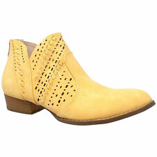 Womens Ankle Boots Western Block Heel Bootie Perforated Cutout Shoes Yellow
