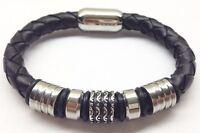 """Men's Stainless Steel 8"""" Black Braided Leather Magnetic Bracelet"""