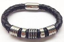 "Men's Stainless Steel 8"" Black Braided Leather Magnetic Bracelet"