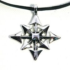Chaos Star Gothic Metal Pewter Pendant Necklace Choker Black Cord ADJUSTABLE