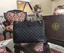 NWT, TORY BURCH MARION QUILTED CHAIN LEATHER SHOULDER TOTE HANDBAG BLACK $600