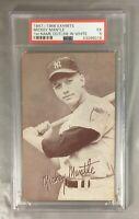 1947 66 MICKEY MANTLE EXHIBITS HOF YANKEES BATTING NEW YORK WHITE OUTLINE PSA 5