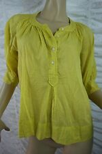 COUNTRY ROAD neon yellow goemetric print 100% cotton blouse size XS EUC