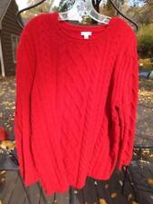 J JILL Red Chenille Cable Knit Tunic Length Sweater Sz XL/XXL  So Soft & So Fun!