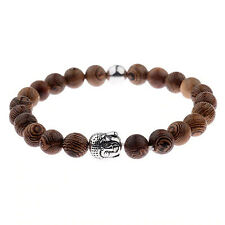 Wooden Bead Bracelet Men Women Ladies Meditation Prayer Silver Buddha Head UK