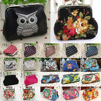 Ladies Vintage Clutch Change Coin ID Card Purse Floral Animals Small Mini Wallet