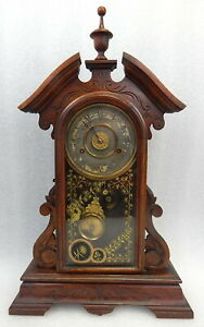 Antique New Haven Victorian Eastlake Gingerbread Clock ca 1881 Working