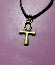 Egyptian Ankh Cross Ansata Key Of Life Bronze Small Pendant Adjustable Necklace