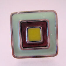 Colette Malouf for Hard Candy Ring Enamel Adjustable Green Red Yellow