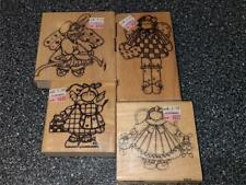 Lot 4 Vtg 90s Unused Wood Rubber Stamps Finders Keeper Angel Dolls Bunny Painter