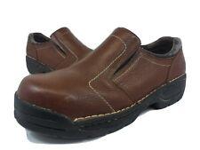 Hytest Safety Slip On Shoes Steel Toe Slip Resistant Brown Men's Size 9.5 M