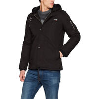 Schott NYC Mens Dubon Black Insulated Parka Down Padded Hooded Fitted Jacket