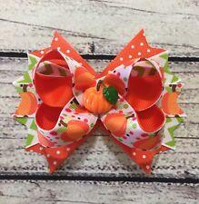 Handmade Fall/ Thanksgiving /Halloween Pumpkin Stacked Boutique Hair Bow