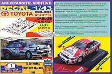 ANEXO DECAL 1/43 TOYOTA CELICA GT-4 C. SAINZ NEW ZEALAND R 1991 WINNER (03)