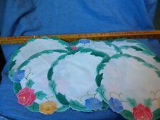 "Set of 8 Vintage Hand-Embroidery Appliqué Doilies Doily Cream, Pink, Gr 7 3/4"""