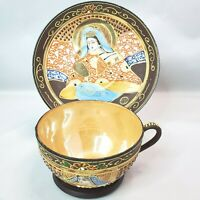 Vintage TT Takito Lusterware Hand Painted Moriage Tea Cup Saucer Made in Japan