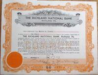 Richland National Bank 1940 Stock Certificate - PA Pennsylvania Penn