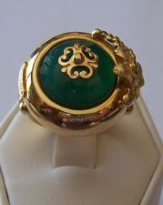 NEW FANCY FLORAL DESIGN GENUINE GREEN JADE RING 14KT SOLID YELLOW GOLD