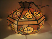 "Tiffany Style Hanging Stained Glass Ceiling Pendant Light Lamp 19"" x 13 H Flower"