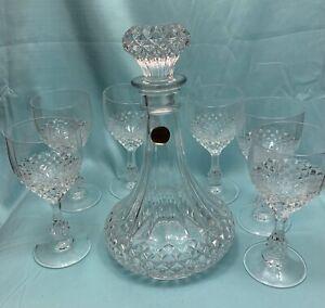 Vintage Cristal D'Arques Longchamp Decanter with 6 Chenonceaux Glasses Lot