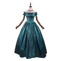 Victorian Gothic Old West Princess Dress Ball Gown Prom Costume Dark Green New #