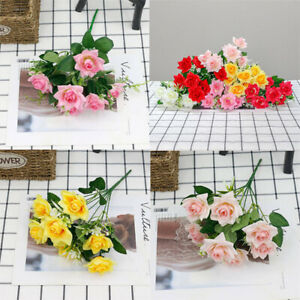 7 Heads Wedding Home openRose Artificial Outdoor Grave Bunch silk Flowers