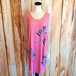 Tropical Batik Pink Shift Dress Rayon Gauze Crinkle Hawaiian Leaves OS EUC!