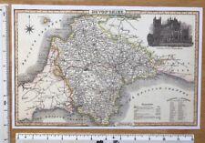 Old Victorian Colour Map of Devon, UK: 1840 Pigot: Historical, Antique: Reprint