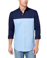 Club Room NEW Blue Men Medium M Oxford Button Down Colorblock Shirt $55 #108