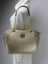 NWT Michael Kors Gold Saffiano Leather Jet Set Travel Chain Shoulder Tote Bag