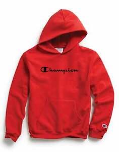 Champion Kids Hoodie Sweatshirt Long Sleeve Athletics Pullover Script Logo Red