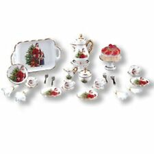 Dollhouse Miniature 1:12 Christmas Tea Service for Four by Reutter Porcelain