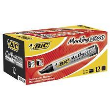 12 x Bic Permanent Black Marker Pen- 2300 Chisel Tip Pack Offer ! Just £0.58p