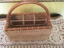 Wicker/Rattan/Wood  4 Section Utensil Caddy Holder. Picnic Accessory Basket