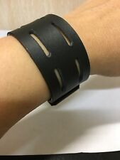 Punk unisex leather bracelet cuff wristband in black colour