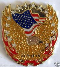 Bald Eagle American Flag Flames Stars Lapel Motorcycle Hat Pin Tie Tack Biker