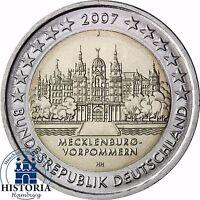 Deutschland Schweriner Schloss 2 Euro Gedenkmünze 2007 bankfrisch Mzz J Hamburg