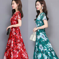 Women Short Sleeve Maxi Dress Round Neck Casual Floral Print Party Cocktail Hot