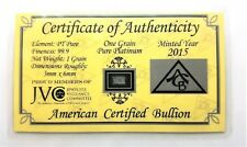 1/15 Gram .999 Fine Platinum Bullion Bar - in Certificate of Authenticity Card
