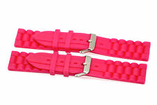 2 PIECES 22MM HOT PINK SILICONE RUBBER SPORT WATCH BAND STRAP FITS FOSSIL