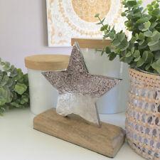 Handmade Silver Star Decoration on Wood/Metal Shelf Sitter Ornament/Xmas